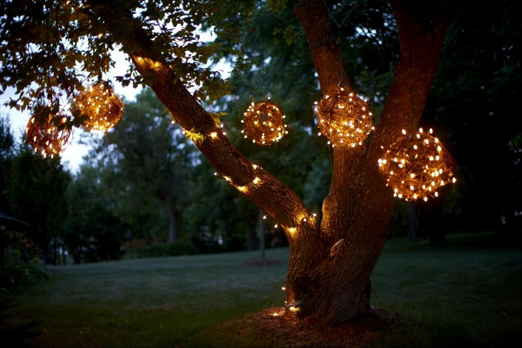 Diy creating character with outdoor lighting soulful abode for How to hang string lights on trees