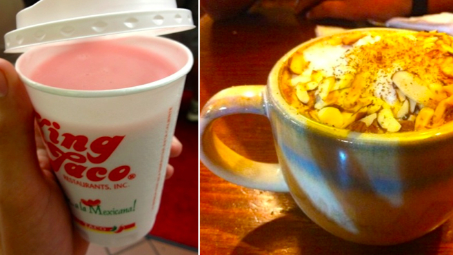 Mexican atole or hot chocolate, your choice, only 300 calories!