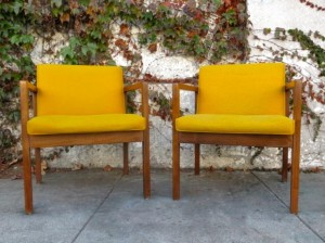 Vintage Apartment's modern Danish walnut and canary yellow chairs, $150