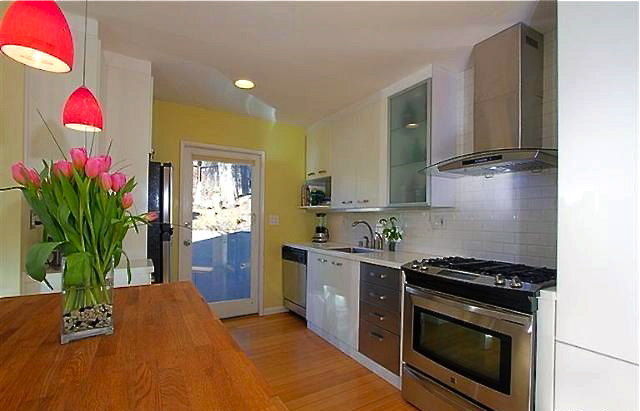 Kitchen with access to backyard