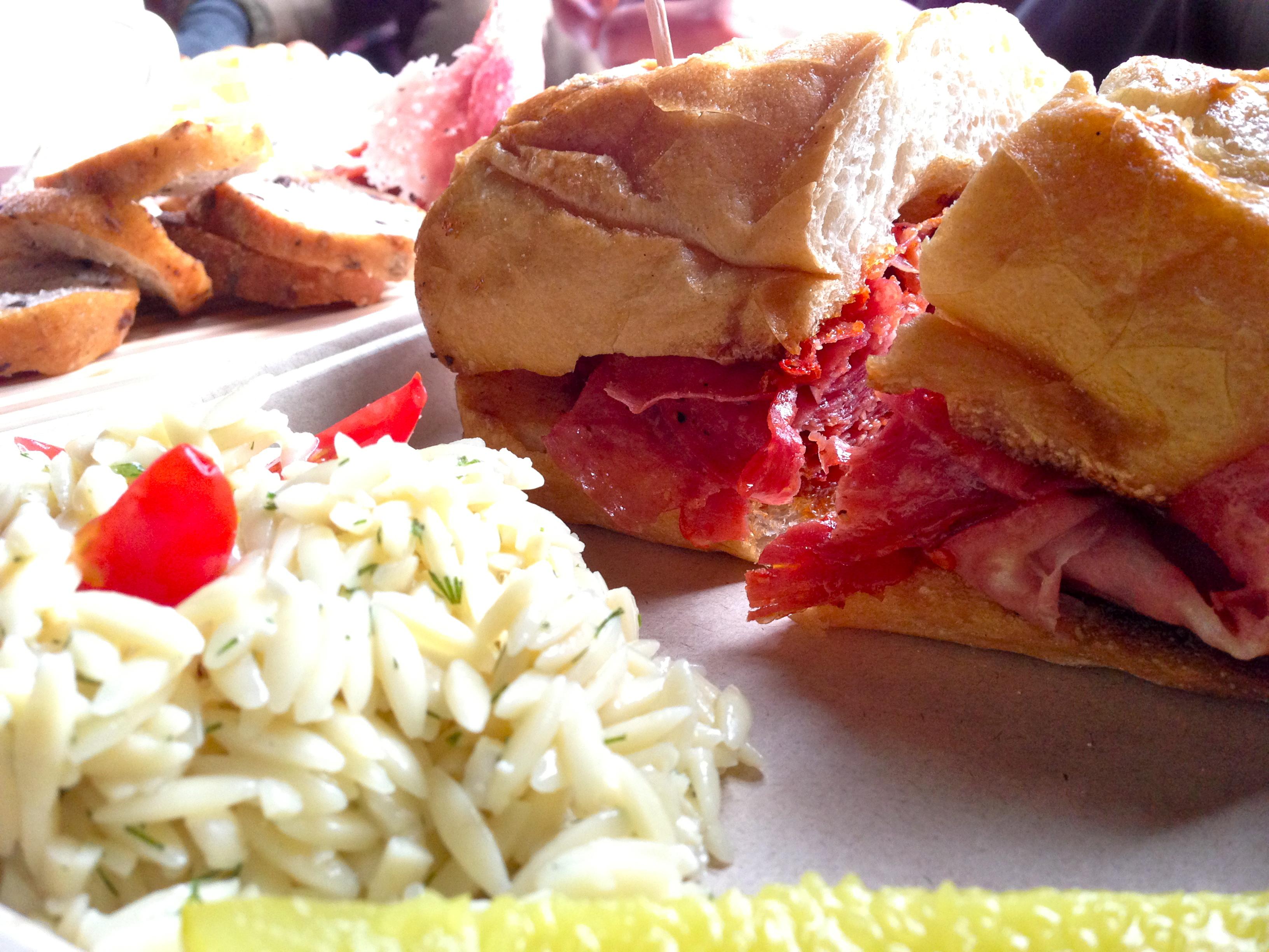 Hot Italian sub on warm, crispy bread and orzo salad, $10