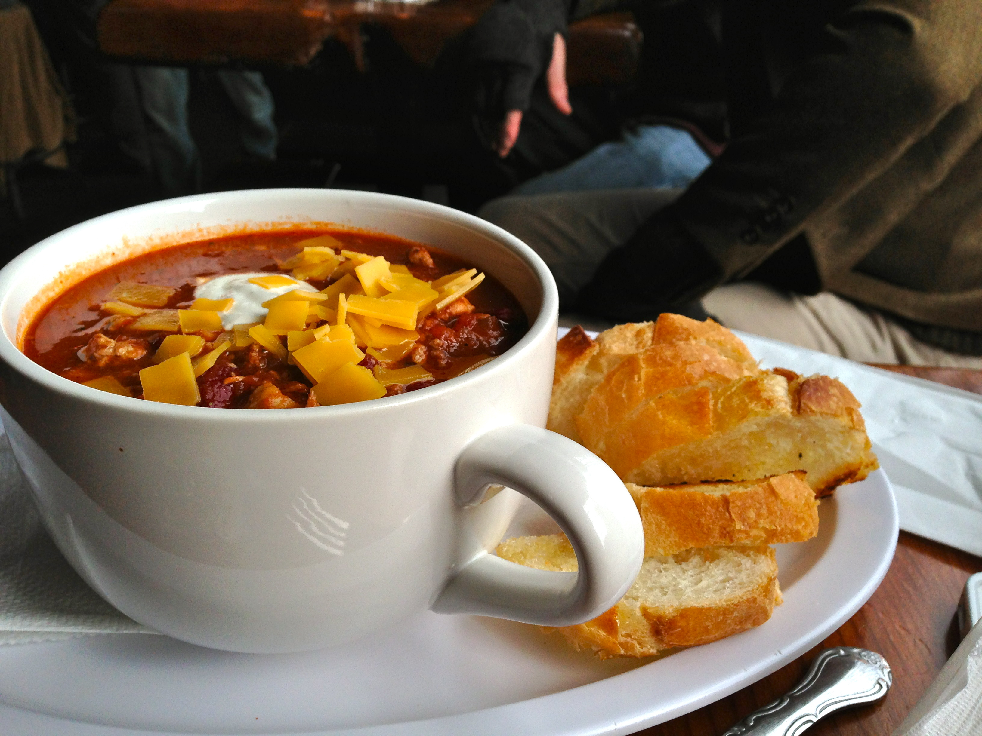 Sweet and spicy chili in a massive mug