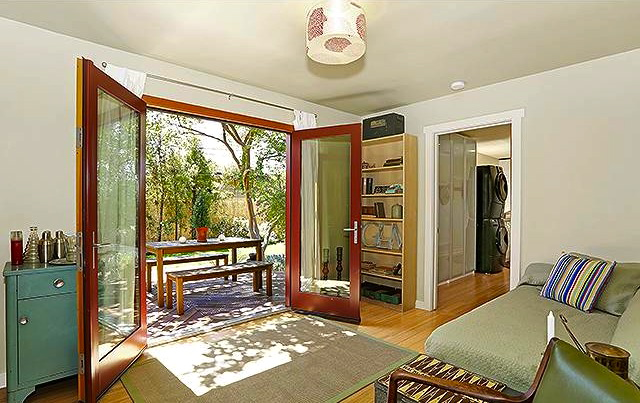 Third bedroom with French doors to the yard