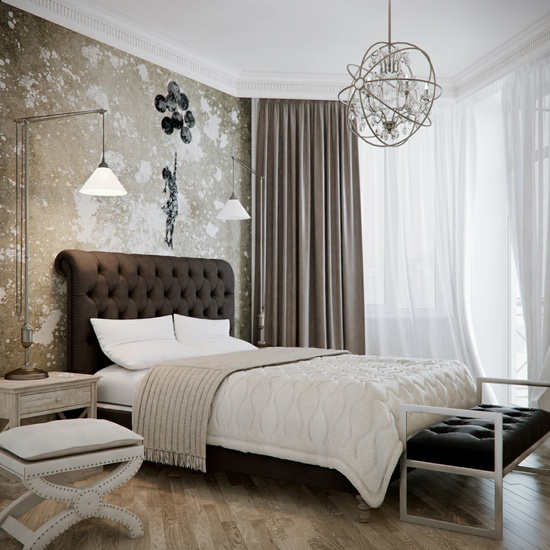 Classic and elegant bedroom that's heavy on fabrics, texture and timeless color