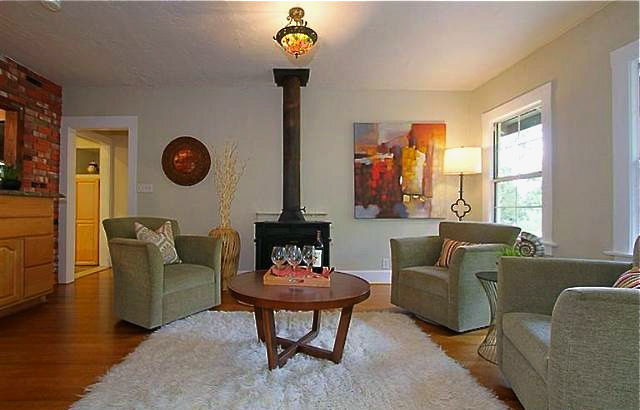 Family room with vintage fireplace
