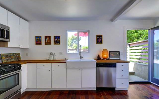 Open kitchen with butcher block counters