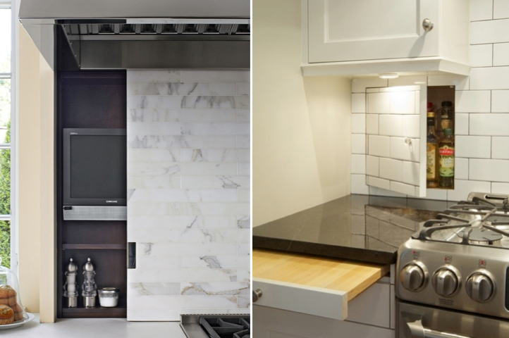 Kitchen: Cleaver use of backsplashes and the space between wall studs