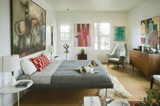 Mid-century bedroom with low profile furniture