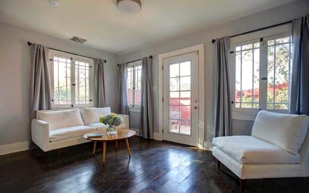 Wood floors and an airy floor plan