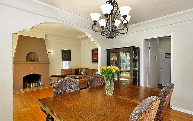 Living and dining room with original wood floors