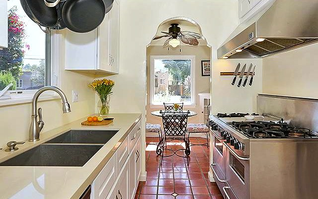 Galley kitchen with professional grade appliances