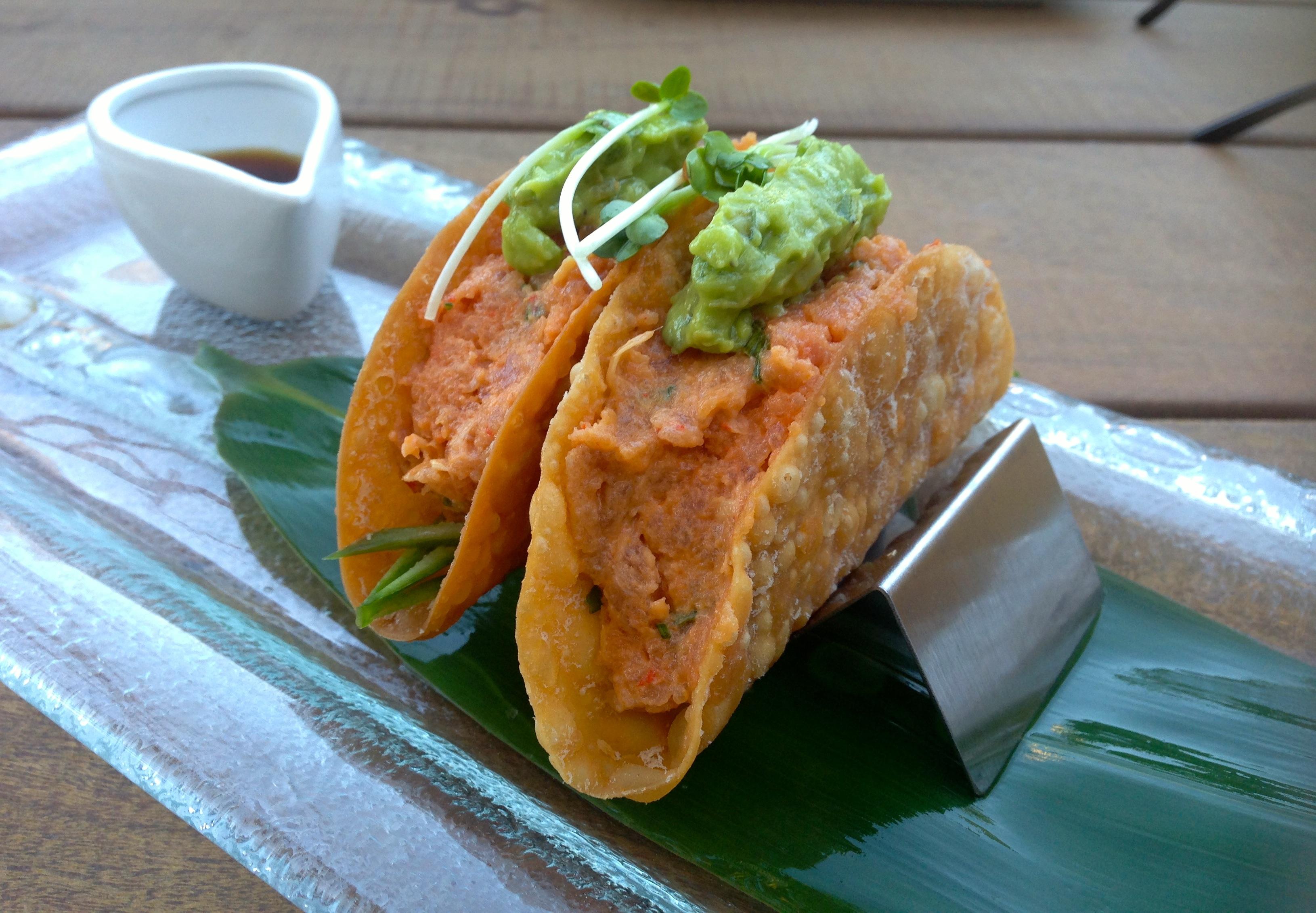 Spicy ahi tuna tartar tacos, $8