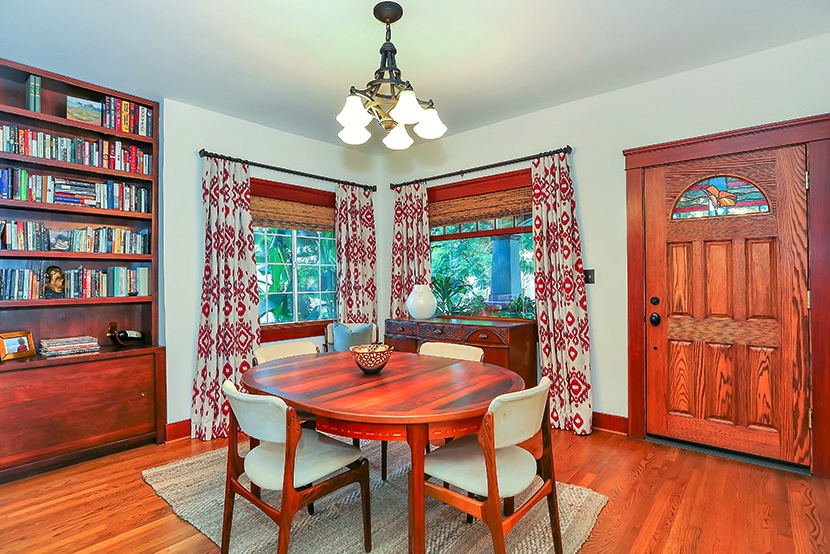 Dining room with built-in cabinet