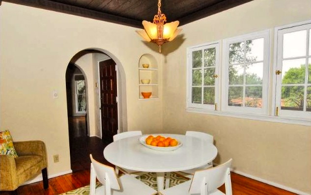 Dining room with casement windows