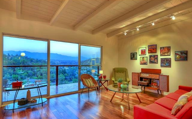 Living room with vaulted ceilings and sweeping views