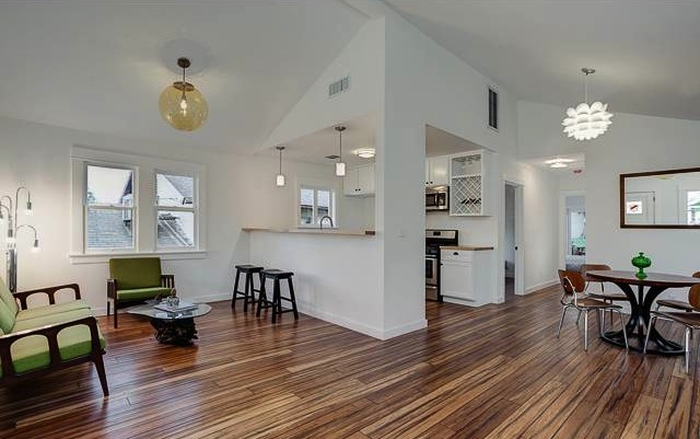 Highland park house flipping still alive kicking for Open floor plans with vaulted ceilings