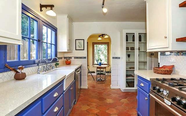 Galley kitchen with breakfast nook