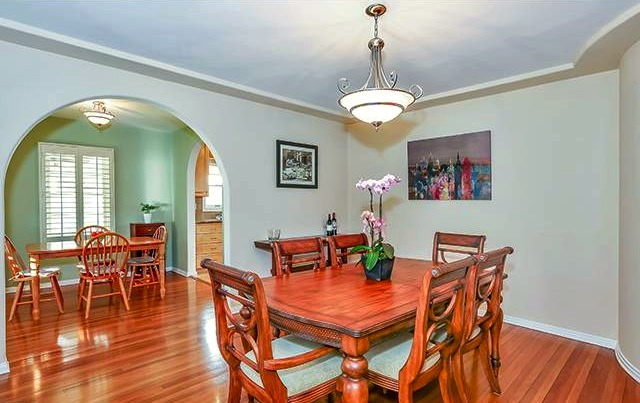 Dining room with original wood floors