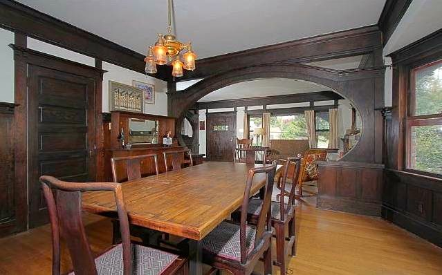 Dining room with vintage built-ins and lighting