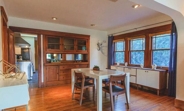 Dining room with built-in sideboard
