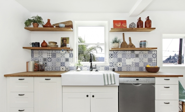 Kitchen with farmhouse sink and open shelves